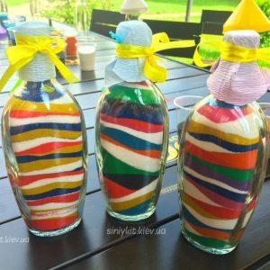 Декор бутылки разноцветным песком в киеве