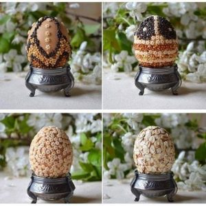 Пасхальные ЭКО-яйца - декор крупой и семенами