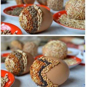 Пасхальные ЭКО-яйца - декор крупой и семенами_4